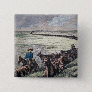 Longhorn cattle drive from Texas to Abilene, Kansa 15 Cm Square Badge