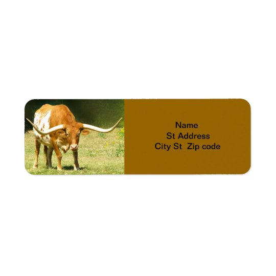 Longhorn Cattle Return Address Label.