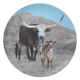 Longhorn cow and calf plate