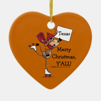 Longhorn Roller Skating-Merry Christmas Y'all! Christmas Ornament