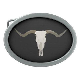 Longhorn Skull Oval Belt Buckle