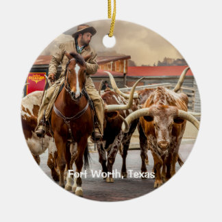 Longhorns of Fort Worth, Texas Christmas Ornament