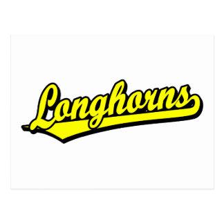 Longhorns script logo in yellow postcards