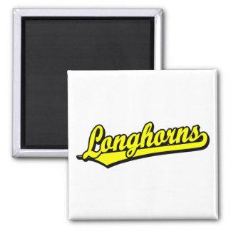 Longhorns  script logo in yellow square magnet