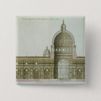 Longitudinal Cross-Section of St. Peter's in Rome, 15 Cm Square Badge