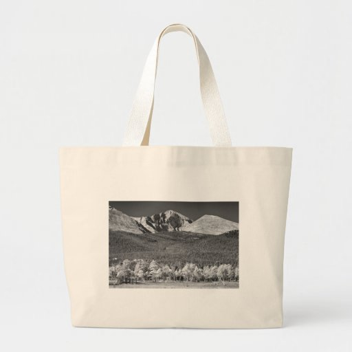 Longs Peak a Colorado Playground In Black and Whit Canvas Bag