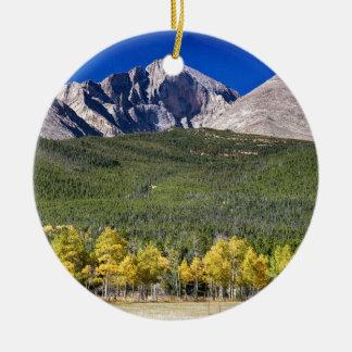 Longs Peak a Colorado Playground Round Ceramic Decoration