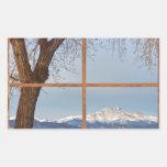 Longs Peak Winter Lake Barn Wood Picture Window Rectangular Sticker