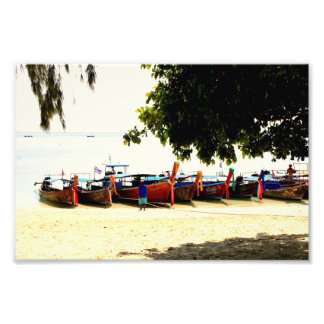 Longtail Boats on Hong Island, Thailand Print