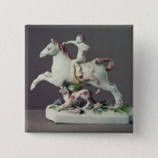 Longton Hall figure of Cupid riding a horse 15 Cm Square Badge