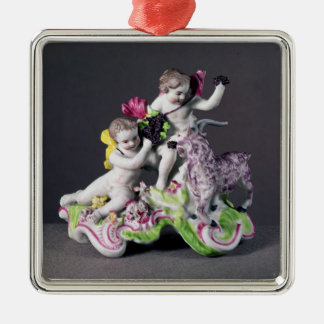 Longton Hall group, two putti with goat, c.1755 Silver-Colored Square Decoration