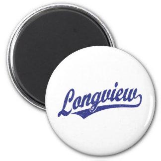 Longview script logo in blue distressed fridge magnets