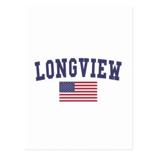 Longview WA US Flag Postcard