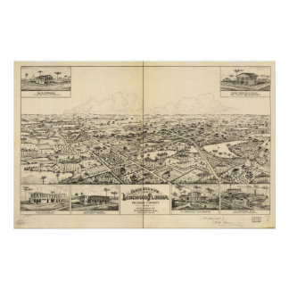Longwood Florida 1885 Antique Panoramic Map Poster