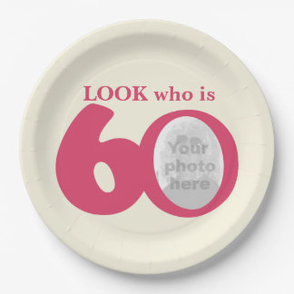 Look 60th birthday photo cream pink paper plate 9 inch paper plate