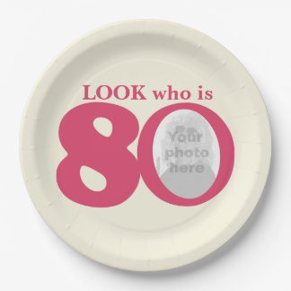 Look 80th birthday photo cream pink paper plate 9 inch paper plate