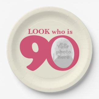 Look 90th birthday photo cream pink paper plate 9 inch paper plate