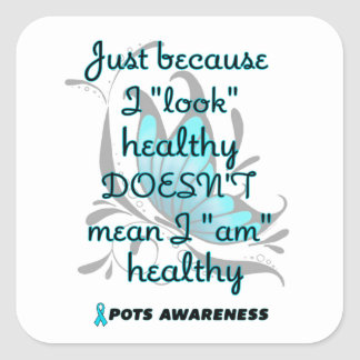 """""""Look"""" healthy/Butterfly...P.O.T.S. Square Sticker"""