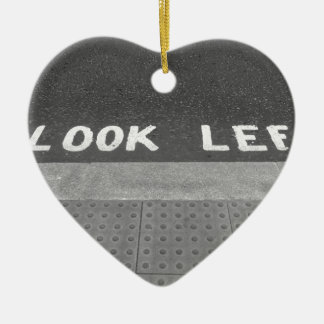 Look left sign in London street Ceramic Heart Decoration