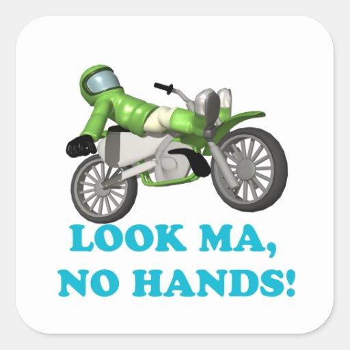 Look Ma No Hands Square Sticker