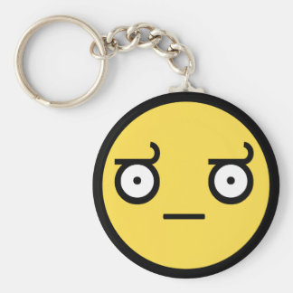 Look of Disapproval Smiley Face Basic Round Button Key Ring
