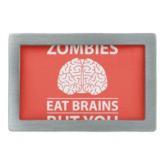 Look Out - Zombies Eat Brains Joke Belt Buckles