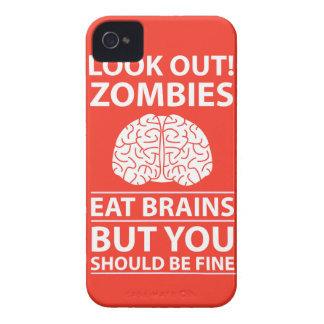 Look Out - Zombies Eat Brains Joke iPhone 4 Case-Mate Cases