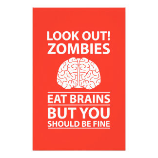 Look Out - Zombies Eat Brains Joke Stationery