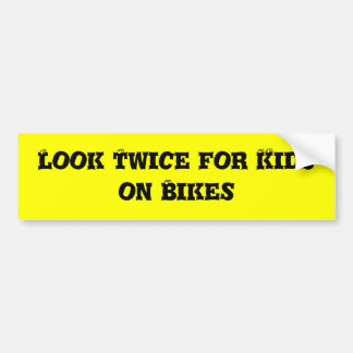 Look Twice for Kids on Bikes Bumper Sticker