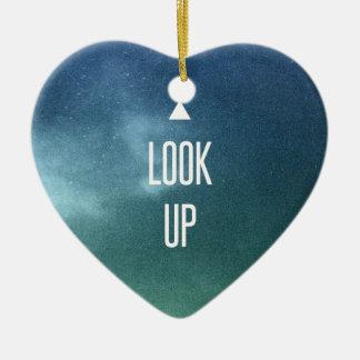 look up ! ceramic heart decoration