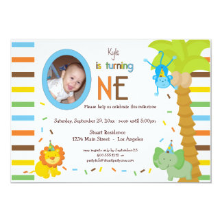 Look Who Is Turning One - Whimsical Animal Theme Card