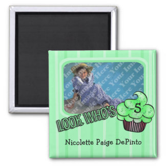 Look Who s Having A Green Striped Birthday Refrigerator Magnets