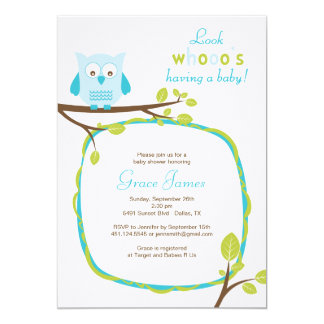 Look whooo's having a baby - Blue owl baby shower Card