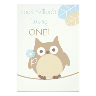 Look Whoo's Turning One Baby Boy Birthday 13 Cm X 18 Cm Invitation Card