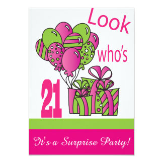 Look Who's 21   21st Birthday 13 Cm X 18 Cm Invitation Card