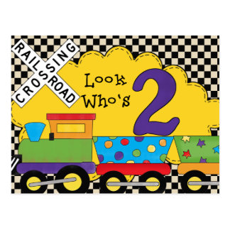Look Who's 2 Birthday Train Cards Postcard