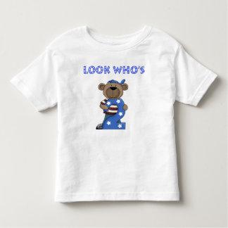 Look who's 2 boys birthday bear toddler T-Shirt