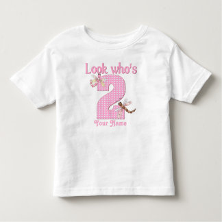Look who's 2 girls birthday dragonfly t-shirt