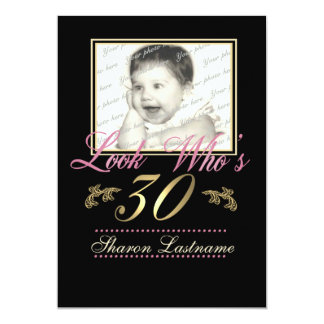 Look Who's 30 Photo 13 Cm X 18 Cm Invitation Card