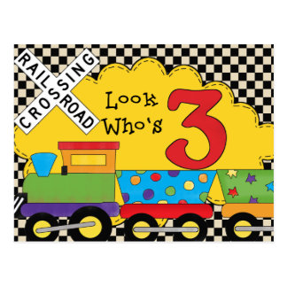 Look Who's 3 Birthday Train Cards