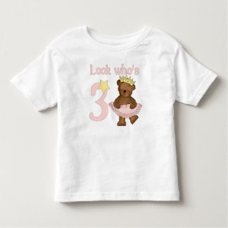 Look who's 3 girl birthday toddler T-Shirt