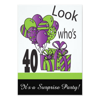 Look Who's 40   40th Birthday 5x7 Paper Invitation Card