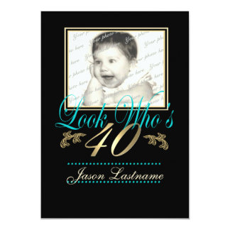 Look Who's 40 Photo Teal Personalized Announcements