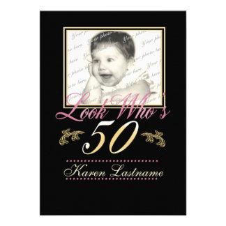 Look Who's 50 Photo Custom Invitation