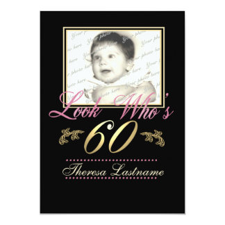 Look Who's 60 Photo 13 Cm X 18 Cm Invitation Card