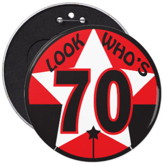 Look Who's 70 | 70th Birthday 6 Cm Round Badge