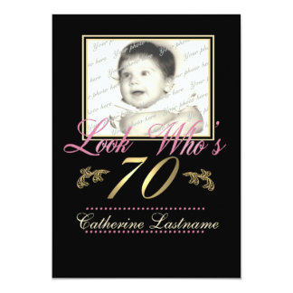 Look Who's 70 Photo 13 Cm X 18 Cm Invitation Card