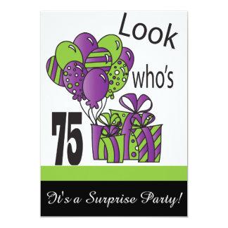 Look Who's 75   75th Birthday 13 Cm X 18 Cm Invitation Card