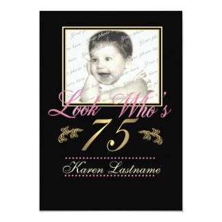 Look Who's 75 Photo 13 Cm X 18 Cm Invitation Card