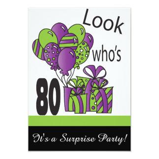 Look Who's 80   80th Birthday 13 Cm X 18 Cm Invitation Card
